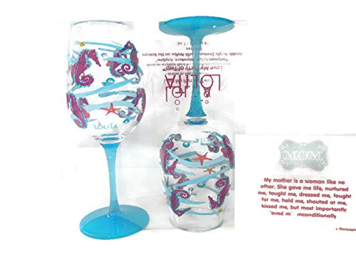 Stepdaughter//Stepson Birthday Gift for Mom LolitaSeahorse Acrylic Wine Glass Mother from Daughter//Son Mama Set of 2 - Best Mothers Day