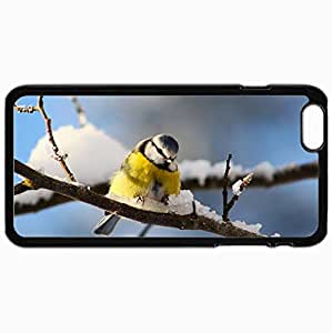 Personalized Protective Hardshell Back Hardcover For iPhone 6 Plus, Bird Branch Snow Design In Black Case Color