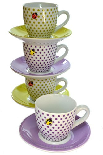 Set of 4 Polka Dots Ladybug 3-D Figurine Espresso Cups with Saucers ()