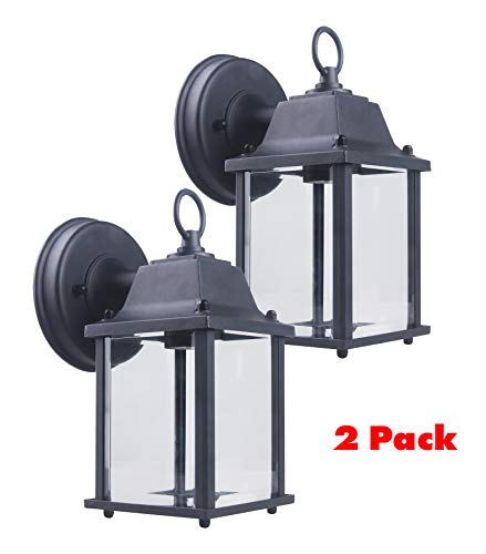 CORAMDEO Outdoor Wall Porch Light, Wall Sconce for Porch, Patio, Deck and More, E26 Medium Base Socket, Suitable for Wet Location, Black Powder Coat Cast Aluminum with Beveled Glass 2 PACK