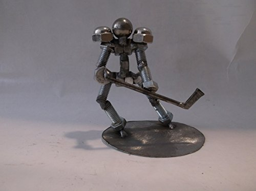Hockey Player, Metal Bolt Figurine, Athlete, Upcycled Art
