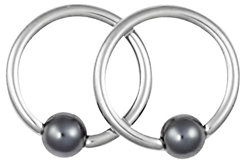 Pair of 2 Rings: 16g 5/16 Inch Surgical Steel Captive Bead Hematite Ball Hoop Ring Circular Barbells