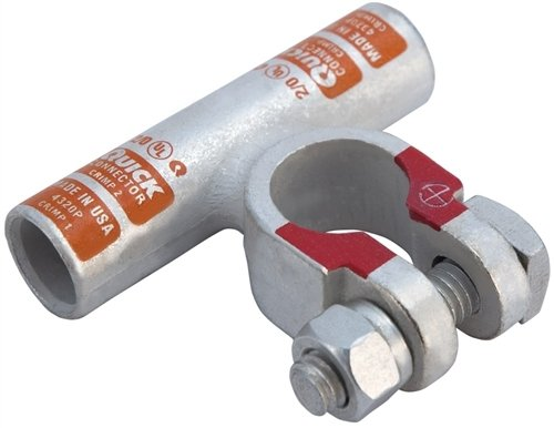 Quick Cable 4340-005P Quick Crimp Flag Connector, 4/0 Gauge, Positive Polarity, Tin Plated Copper Alloy, 2-1/2