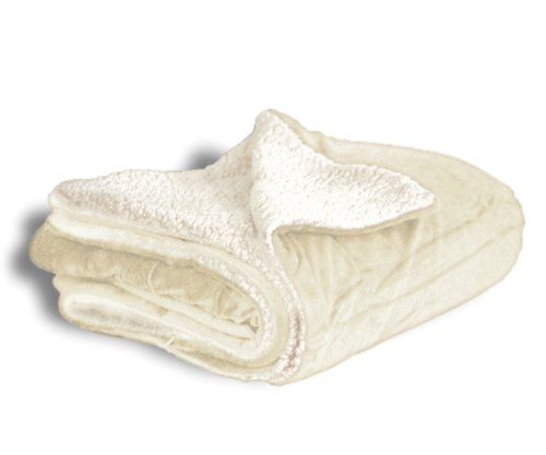 Throw Blanket - Micro Mink and Lambswool Sherpa (Cream)
