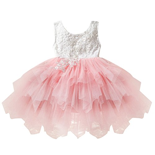 OBEEII Little Girl Lace Flower Beaded Tutu Dress Sleeveless Backless Tiered Princess Wedding Bridesmaid Formal Birthday Party Dresses 18 Months 100
