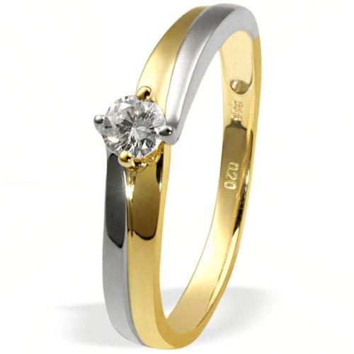 goldmaid Damenring Gold 585 Bicolor 1 Brillant 0,20 Karat SI Verlobungsring Grösse 56 So R3923BI56