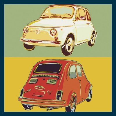 Bild mit Rahmen Rod Neer - Fiat 500 squared - Holz blau - 50 x 50cm - Premiumqualität -  - Cult - Kinder - Comic - Pop-