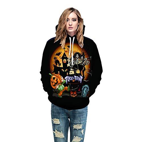 - Halloween Women Men 3D Printing Top, Long Sleeve Hoodie Sweatshirt ANJUNIE Pullover (Black3,S)