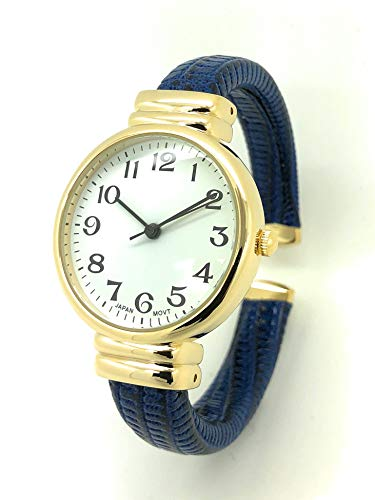 Ladies Snakeskin Leather Bangle Cuff Watch Gold Tone Round Case White Dial QRTZ (Navy Blue)