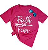 Women's Faith Over Fear Arrow Letters Print V Neck Short Sleeve Summer T Shirt Size XX-Large (Rose Red)