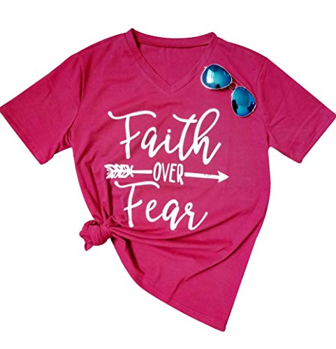 Women's Faith Over Fear Arrow Letters Print V Neck Short Sleeve Summer T Shirt Size XX-Large (Rose Red) by MAXIMGR