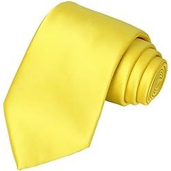 KissTies Sunny Yellow Satin Tie Wedding Ties Mens Necktie + Gift Box