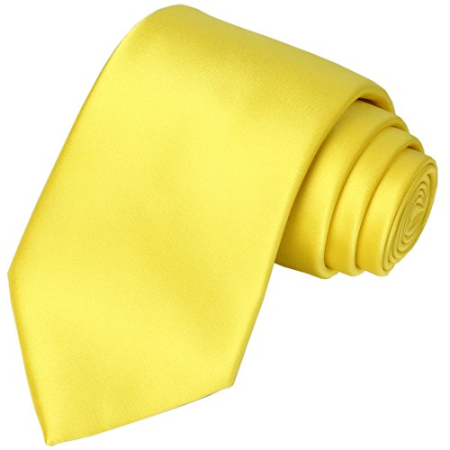 KissTies Sunny Yellow Satin Tie Wedding Ties Mens Necktie + Gift Box ()