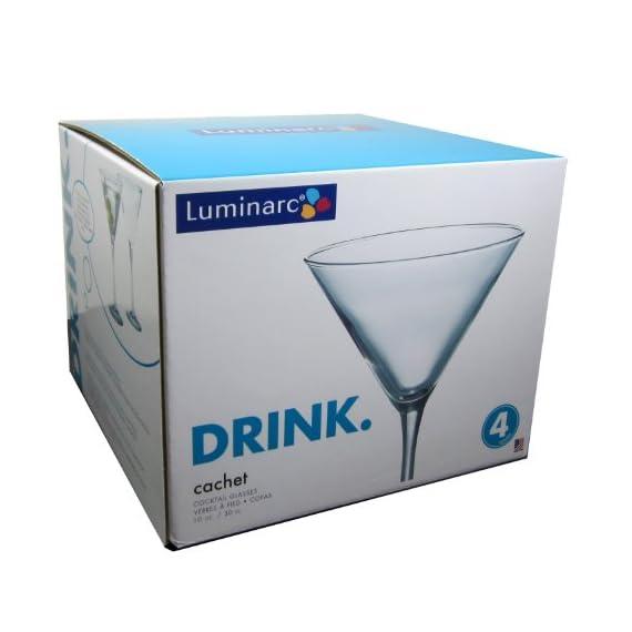 ARC International Luminarc Cachet Martini Glass, 10-Ounce, Set of 4 2 Four Martinis Soda Ash Glass Lead Free Glass