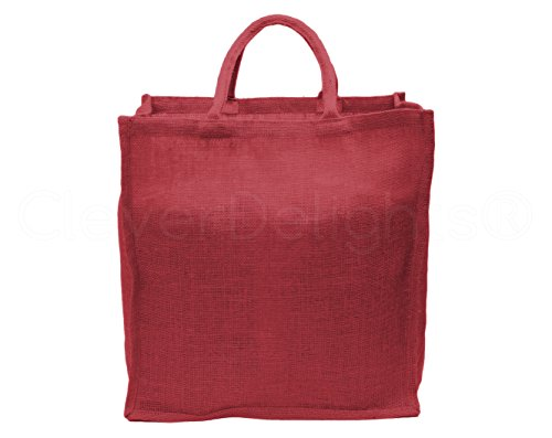 """10 Pack - CleverDelights Red Burlap Shopping Bags - 16"""" x 17"""