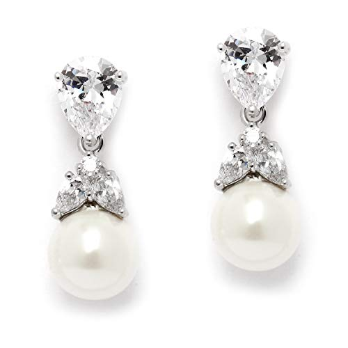 Mariell Silver Platinum-Plated Pear-Shaped CZ Wedding Earrings with 6mm Ivory Glass Pearl Drops