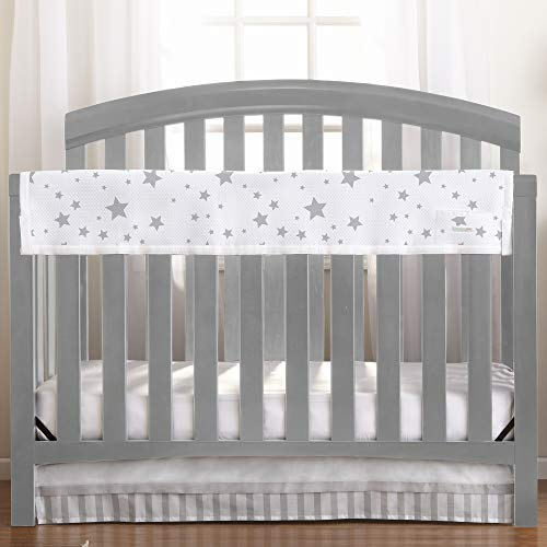 BreathableBaby Railguard Crib Rail Cover - Star Light White and Gray ()