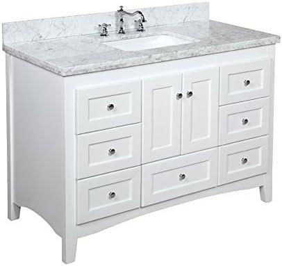 Abbey 48-inch Bathroom Vanity Carrara/White : Includes White Cabinet