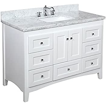 Kitchen Bath Collection KBC388WTCARR Abbey Bathroom Vanity With Marble  Countertop, Cabinet With Soft Close Function