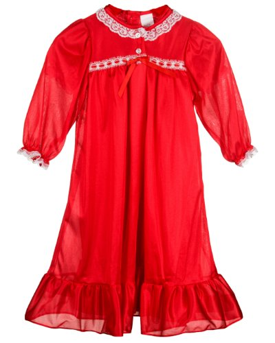 Laura Dare Little Girls Red Long Sleeve Traditional Peignoir Set, 6