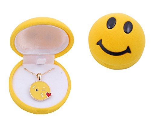 W merchandising Emoji Necklace in Emoji Smiley Face Velvet Flocked Box (Blowing a Kiss Emoji)