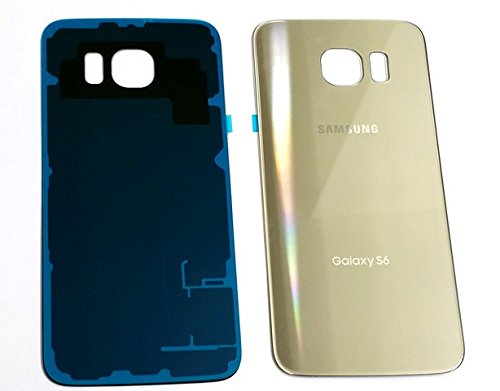 New OEM Battery Back Cover Glass Panel with Adhesive Preinstalled For Samsung Galaxy S6 G920A G920T G920P G920R G920V for All Carriers ~ GOLD (No ()