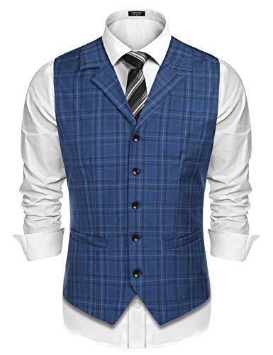 COOFANDY Men's Business Suit Vest Slim Fit Twill Dress Waistcoat for Wedding Party Dinner (L, - Twill Sleeveless Dress