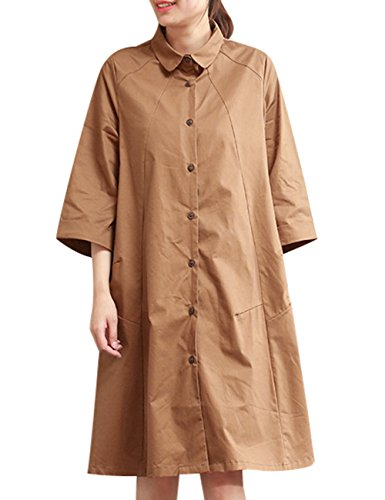 Youlee Damen Polo Neck Knopf unten Hemd Bluse Kleid Khaki 46VGbc ...