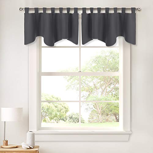 (PONY DANCE Grey Scalloped Valances - Window Curtains Home Decoration Window Treatments Top Tab Panel Valances Blackout Tier Drapery for Kitchen, 52 inch Wide by 18 inch Long, Grey, 2 Pieces)