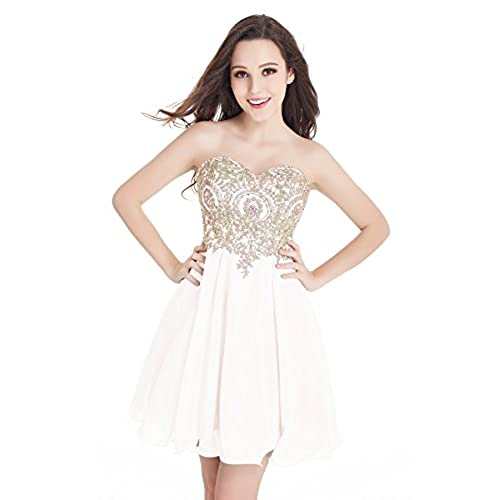 Babyonlinedress Women Sleeveless Bodycon Lace Applique Chiffon Cocktail Party Prom Dress White,2