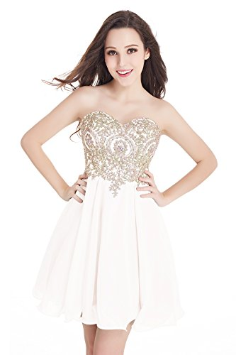 Babyonlinedress Juniors Short Lace Applique Beaded Bodice Chiffon Homecoming Prom Dress White,12 ()