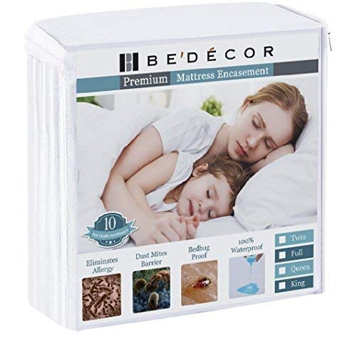 - Queen Size (FITS UP to 9') Zippered Mattress Encasement Six Sides Waterproof, Dust Mite Proof, Bed Bug Proof Breathable and Noiseless-Vinyl Free by Bedecor