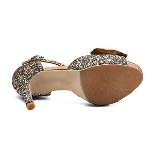 W&LM Sra Tacones altos Chanclas Boca de pescado Sandalias De acuerdo Parte inferior gruesa Sandalias Antideslizante Zapato golden