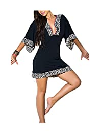 Sexy Women Summer Leopard V Neck Beach Dress Mini Boho Dress