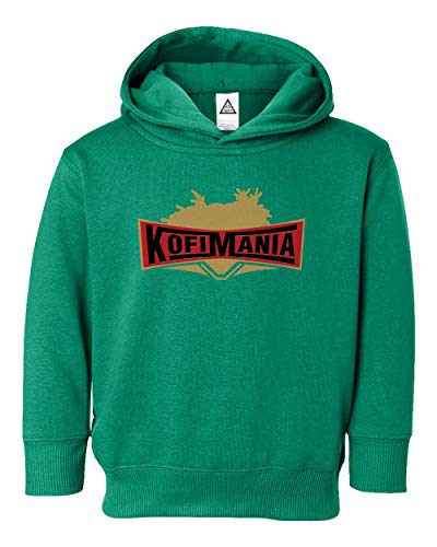 Kofi Kingston Wrestlemania KofiMania Little Kids Hoodie Toddler Sweatshirt (Green, -