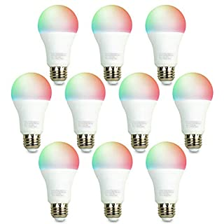 iBRIGHT Smart WiFi LED Light Bulb, 9.5W (60W Equivalent) 800 lumens A19 E26 Dimmable Multicolor 120VAC 2700K-5000K RGB, No Hub Required (Works with Amazon Alexa & Google Assistant) 10 Pack