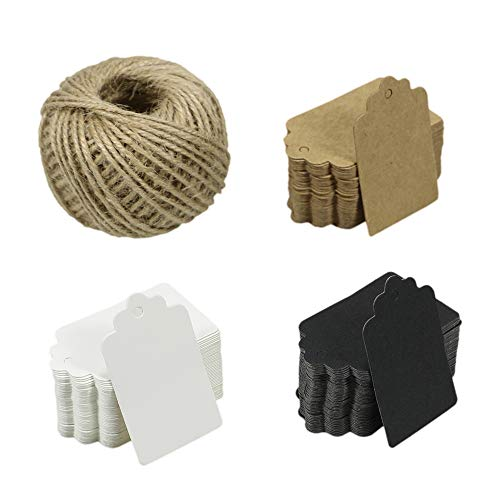 Chosky 150PCS Kraft Paper Gift Tags Wedding Favours Hang Tags Paper Tags Art Crafts Tags Labels 3 Colors with 100 Feet Natural Jute Twine (Favour Tags)
