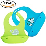 Vadel baby Waterproof Silicone Baby Bibs for Easy Clean | Keep Stains Off with Comfortable Bib Set in 4 Colors | Ecofriendly, Hypoallergenic, Reusable Bib (Blue and Green)
