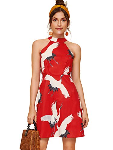 Floerns Women's Animal Print Summer Halter Neck Sleeveless Party Dress Red-1 M