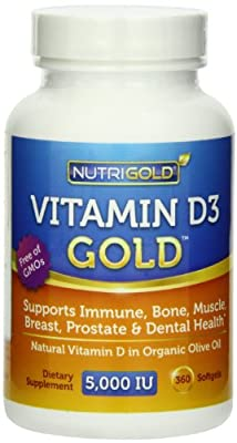 Nutrigold Vitamin D3 5000 IU,720 Mini Softgels (GMO-free, Preservative-free, Soy-free, USP Grade Natural Vitamin D in Organic Olive Oil) by nutrigold
