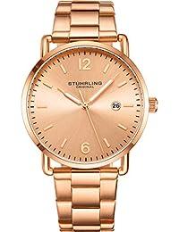 Stuhrling Original - Reloj de pulsera para hombre, correa de piel o reloj de pulsera, esfera plateada con fecha, estilo minimalista, 38 mm, colección 3901 relojes para hombre, Rose gold