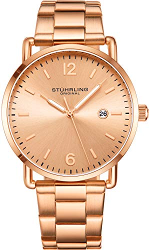 Stuhrling Original Mens Watch Leather or Bracelet Watch Band Silver Dial with Date Minimalist Style 38mm Case - 3901 Watches for Men Collection (Rose Gold)