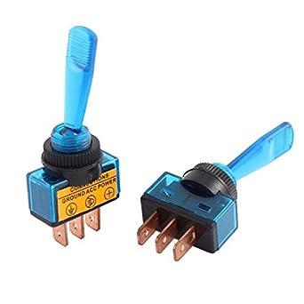DealMux 2pcs DC 12V 20A Lâmpada Azul Braço longo Spst Engatamento Mini Interruptor de Báscula