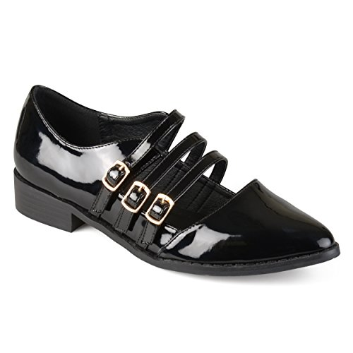 Journee Collection Womens Patent Buckle Shoes Black, 7 Regular US