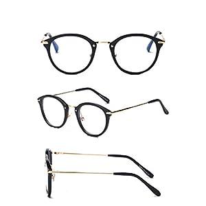 Male and female myopic glasses frame Flat goggles,Bright black gold frame C1