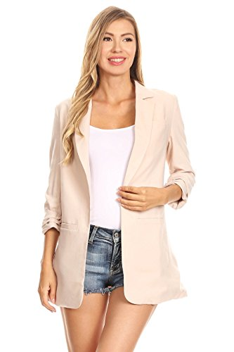 A+D Womens Open Suit Blazer Jacket w/3/4 Cuff Sleeves (Sand, (Boucle Lined Suit)