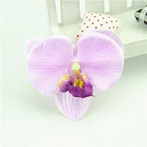 100Pcs/Lot 7Cm Spring Silk Butterfly Orchid Artificial Flower Heads Gladiolus Cymbidium Flowers For Wedding Decoration 91