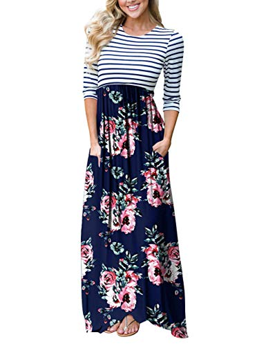 Print Tie Waist Dress - MEROKEETY Women's Striped Floral Print 3/4 Sleeve Tie Waist Maxi Dress with Pockets