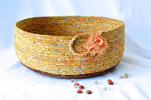 Tan Home Decor Basket, Cat Bed, Storage Organizer, Handmade by Wexford Treausres, Fiber Art Bowl, Cotton Pet Bed Furniture, Artisan Batik Fabric Basket, Dog Bed