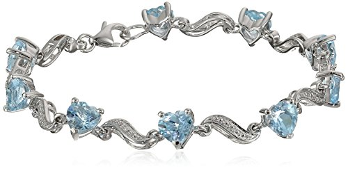 Topaz Blue Diamond Accent - Sterling Silver Sky Blue Topaz and Diamond Accent Heart Wave Bracelet, 7.25